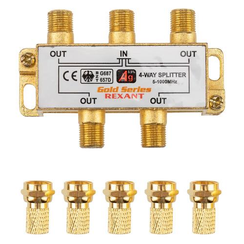 Фото - Сплиттер антенный REXANT 05-6103-1, F-TV(f) - GOLD золотистый делитель спутниковый f типа на 3 tv 5 2500 мгц rexant 10шт