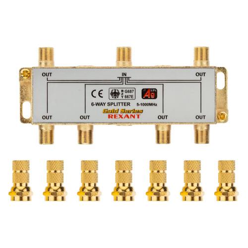 Фото - Сплиттер антенный REXANT 05-6104-1, F-TV(f) - GOLD золотистый делитель спутниковый f типа на 3 tv 5 2500 мгц rexant 10шт