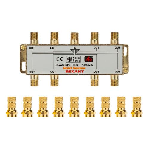Фото - Сплиттер антенный REXANT 05-6105-1, F-TV(f) - GOLD золотистый делитель спутниковый f типа на 3 tv 5 2500 мгц rexant 10шт