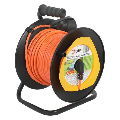 Удлинитель силовой Эра RPx-1e-3х0.75-30m (Б0043046) 3x0.75кв.мм 1розет. 30м ПВС 6A катушка оранжевый удлинитель эра силовой rpx 4es 3x0 75 30m б0043052