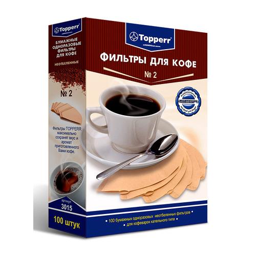 Фильтры для кофе TOPPERR №2, для кофеварок капельного типа, бумажные, 1x2, 100 шт, неотбеленные [3015] фильтры для кофе для кофеварок капельного типа filtero 2 белый упак 40шт