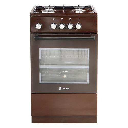 Газовая плита DE LUXE 5040.48г (щ)-014, газовая духовка, без крышки, коричневый