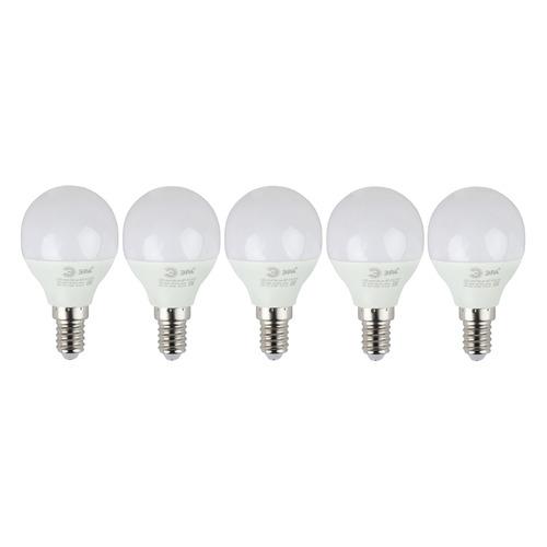 Упаковка ламп LED ЭРА E14, шар, 6Вт, 2700К, белый теплый, ECO LED P45-6W-827-E14, 5 шт. [б0020626]