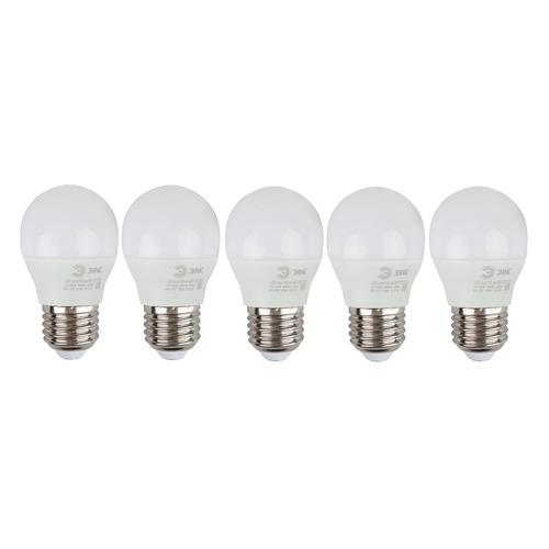 Упаковка ламп LED ЭРА E27, шар, 6Вт, 2700К, белый теплый, ECO LED P45-6W-827-E27, 5 шт. [б0020629]