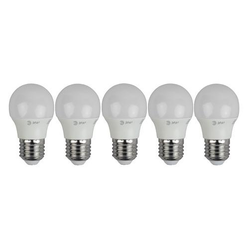 Упаковка ламп LED ЭРА E27, шар, 6Вт, 2700К, белый теплый, ECO LED P45-6W-840-E27, 5 шт. [б0020630]