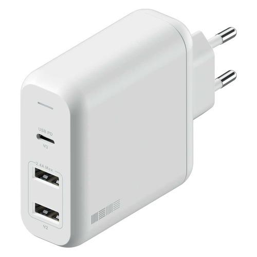 Сетевое зарядное устройство INTERSTEP 60W, 2 USB + USB type-C, USB type-C, 3A, белый сетевое зарядное устройство xiaomi mi zmi zpower trio charger max 65w 2 type c 1 usb a 1m cable type c type c eu ha932 черный