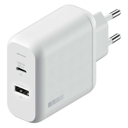 Сетевое зарядное устройство INTERSTEP 42W, USB-C + USB-A, USB type-C, 3A, белый сетевое зарядное устройство bs1405 1 usb 1 a белый