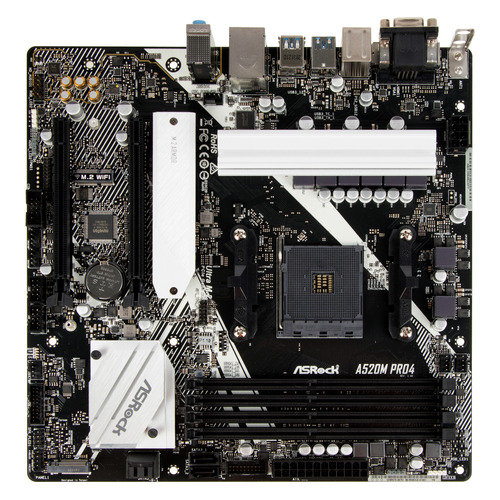 Материнская плата ASROCK A520M PRO4, SocketAM4, AMD A520, mATX, Ret материнская плата asrock fm2a68m dg3 socket fm2 amd a68h matx ret