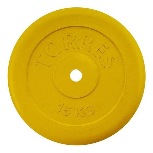 Диск Torres PL504215 для штанги обрезин. 15кг желтый