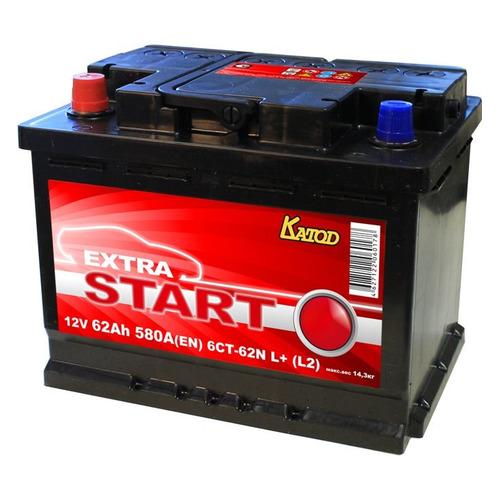 Аккумулятор автомобильный КАТОД EXTRA START Extra Start 62Ач 580A [6ст-62n l+ (l2)]