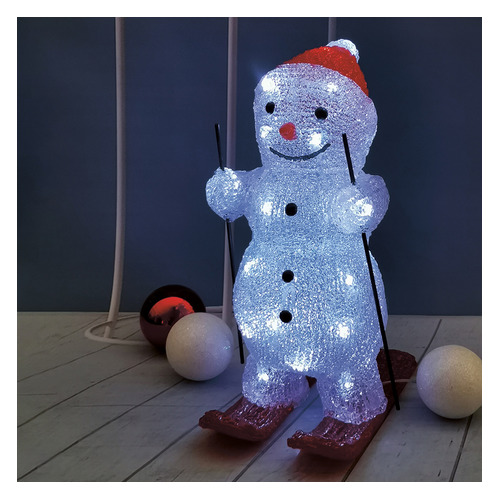 Фигура Neon-Night Home Снеговик на лыжах фор.:снеговик 30лам. акрил (513-325) фигура neon night home олененок в шарфе фор олененок 24лам акрил 513 314
