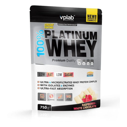 Фото - Протеин VPLAB 100% Platinum Whey, порошок, 750гр, малина-белый шоколад [vp54438] протеин