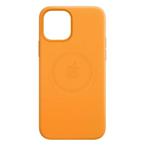 Чехол (клип-кейс) APPLE Leather Case with MagSafe, для Apple iPhone 12/12 Pro, золотой апельсин [mhkc3ze/a]