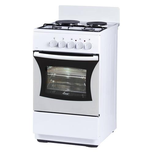 Газовая плита FLAMA RK 2201 W, электрическая духовка, без крышки, белый