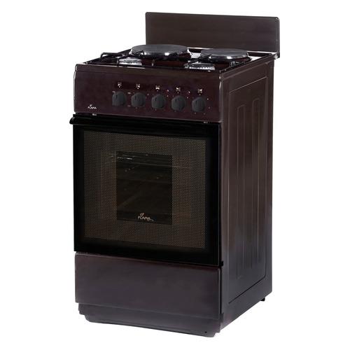 Газовая плита FLAMA RK 2201 B, электрическая духовка, без крышки, коричневый