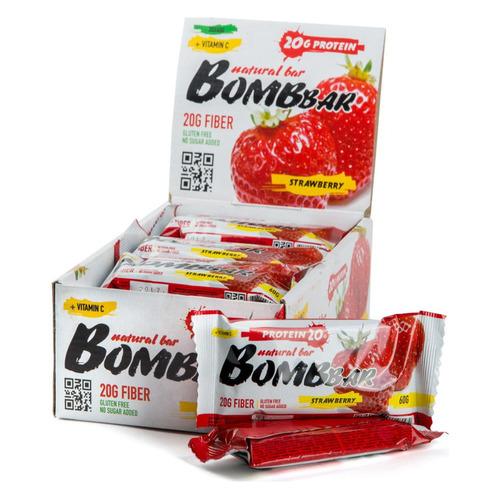 Набор батончиков протеин. Bombbar Natural Bar бат. 20х60гр клубника (упак.:20шт)