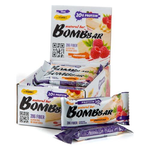 Набор батончиков протеин. Bombbar Natural Bar бат. 20х60гр малиновый чизкейк (упак.:20шт)