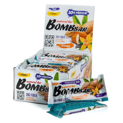 Набор батончиков протеин. Bombbar Natural Bar бат. 20х60гр миндаль/ваниль (упак.:20шт)