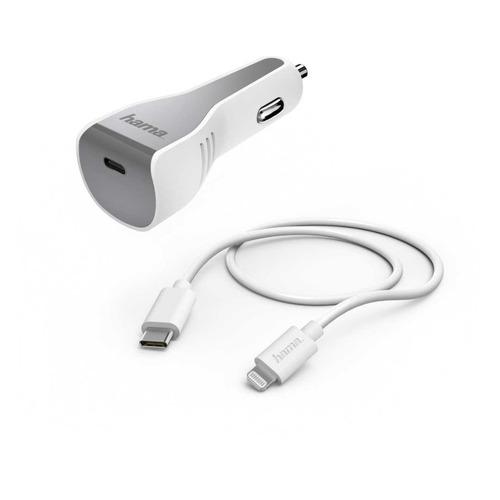 Комплект зарядного устройства HAMA H-183317, USB type-C, 8-pin Lightning (Apple), 3A, белый