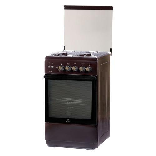 Газовая плита FLAMA FG 24228 B, газовая духовка, стеклянная крышка, коричневый