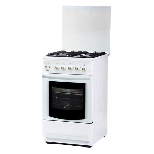 Газовая плита FLAMA FG 2428 W, газовая духовка, стеклянная крышка, белый