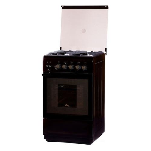 Газовая плита FLAMA FG 2428 B, газовая духовка, стеклянная крышка, коричневый