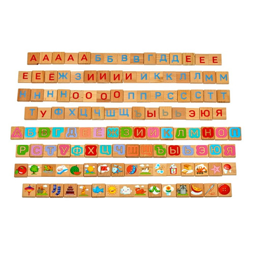 Развивающая игрушка ИГРУШКИ ИЗ ДЕРЕВА Веселая азбука, русский алфавит с картинками [д436] деревянные игрушки бизикуб алфавит русский с цифрами и знаками