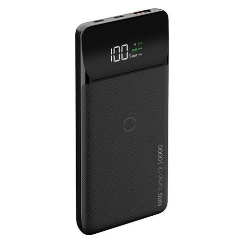 Внешний аккумулятор (Power Bank) DEPPA NRG Turbo Qi LCD, 10000мAч, черный [33559] deppa nrg turbo 15000 мач черный