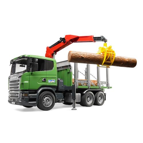 Игровой набор Bruder Scania с портативным краном и бревнами, Лесовоз [03-524]