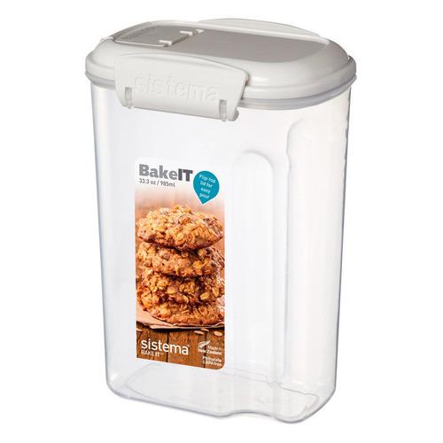 Фото - Контейнер Sistema Bake it 1203 прямоуг. 0.985л. пластик белый/прозрачный sistema контейнер с чашкой bake it 1250 13x17 5 см прозрачный