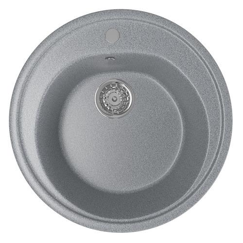 Кухонная мойка MIXLINE ML-GM11, искусственный камень, 50.5см х 50.5см, темно-серый [525071]