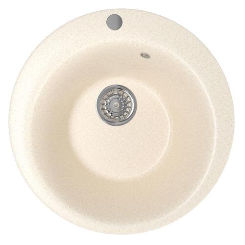 Кухонная мойка MIXLINE ML-GM13, искусственный камень, 49.5см х 49.5см, бежевый [525090]