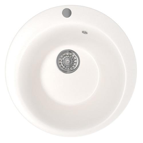 Кухонная мойка MIXLINE ML-GM13, искусственный камень, 49.5см х 49.5см, белый [525091]