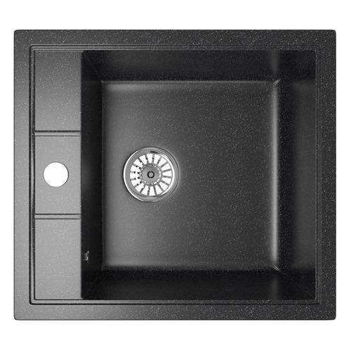 Кухонная мойка MIXLINE ML-GM28, искусственный камень, 50см х 44.5см, черный [533513]