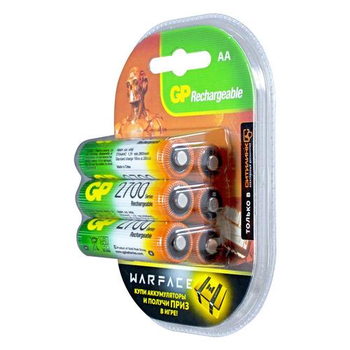 AA Аккумулятор GP Rechargeable 2700AAHC, 6 шт. 2700мAч