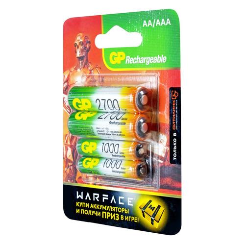 AA/AAA Аккумулятор GP Rechargeable 270AA+100AAAHC, 4 шт. 2700мAч