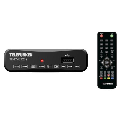 Ресивер DVB-T2 TELEFUNKEN TF-DVBT232, черный telefunken плееры медиа tf dvbt232 черный