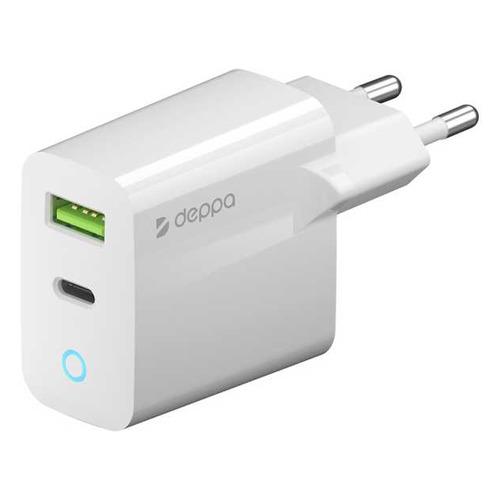 Фото - Сетевое зарядное устройство DEPPA 65W, USB + USB type-C, 8-pin Lightning (Apple), 3A, белый сетевое зарядное устройство adam elements omnia f1 usb type c 8 pin lightning apple 3a белый