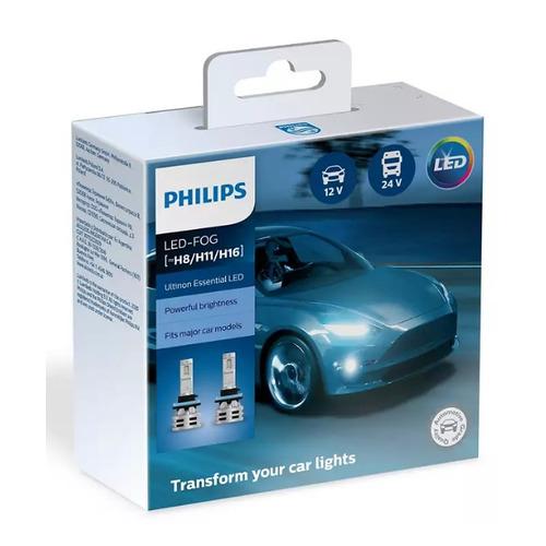 Лампа автомобильная светодиодная PHILIPS 11366UE2X2, H11/H8/H16, 12/24В, 24Вт, 6500К, 2шт