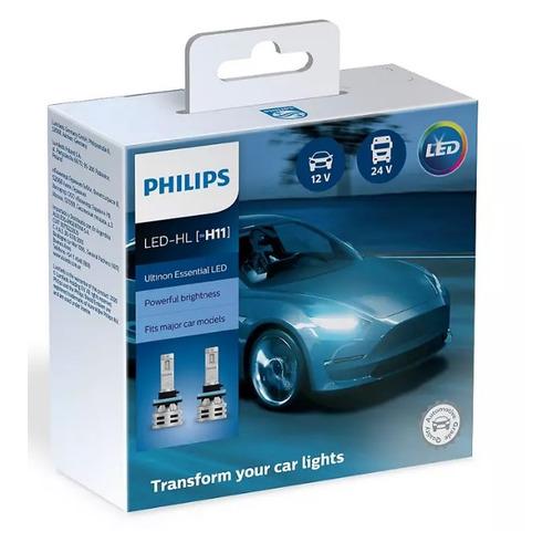Лампа автомобильная светодиодная PHILIPS 11362UE2X2, H11, 12/24В, 24Вт, 6500К, 2шт