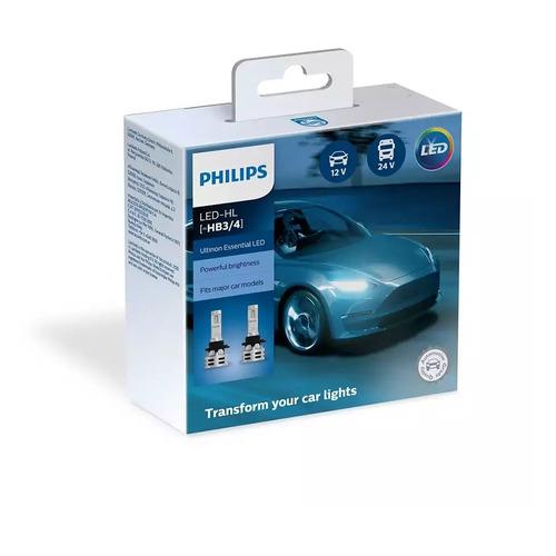 Лампа автомобильная светодиодная PHILIPS 11005UE2X2, HB3/HB4, 12/24В, 24Вт, 6500К, 2шт