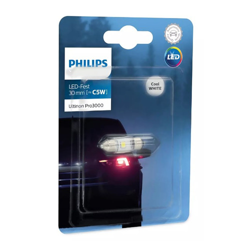 Лампа автомобильная светодиодная PHILIPS 11860U30CWB1, Fest T10,5x30, 12В, 0.6Вт, 6000К, 1шт