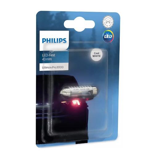 Лампа автомобильная светодиодная Philips 11864U30CWB1, Fest T10,5x43, 12В, 0.6Вт, 6000К, 1шт