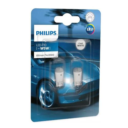 Лампа автомобильная светодиодная Philips 11961U30CWB2, W5W, 12В, 0.6Вт, 6000К, 2шт