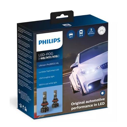 Лампа автомобильная светодиодная PHILIPS 11366U90CWX2, H11/H8/H16, 12/24В, 15Вт, 5800К, 2шт