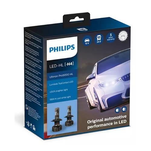 Лампа автомобильная светодиодная PHILIPS 11342U90CWX2, H4, 12/24В, 18Вт, 5800К, 2шт