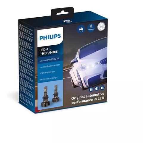 Лампа автомобильная светодиодная PHILIPS 11005U90CWX2, HB3/HB4, 12/24В, 20Вт, 5800К, 2шт