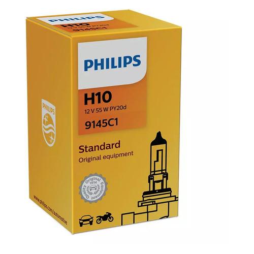 Лампа автомобильная галогенная PHILIPS 9145C1, H10, 12В, 45Вт, 1шт