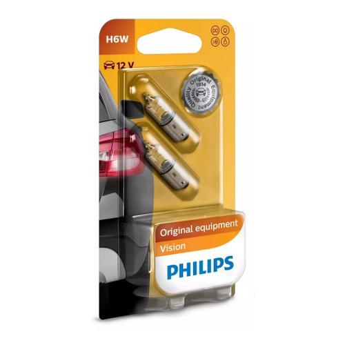 Лампа автомобильная галогенная PHILIPS 12036B2, H6W, 12В, 6Вт, 2шт