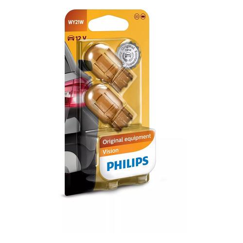 Лампа автомобильная накаливания PHILIPS 12071B2, WY21W, 12В, 21Вт, 2шт